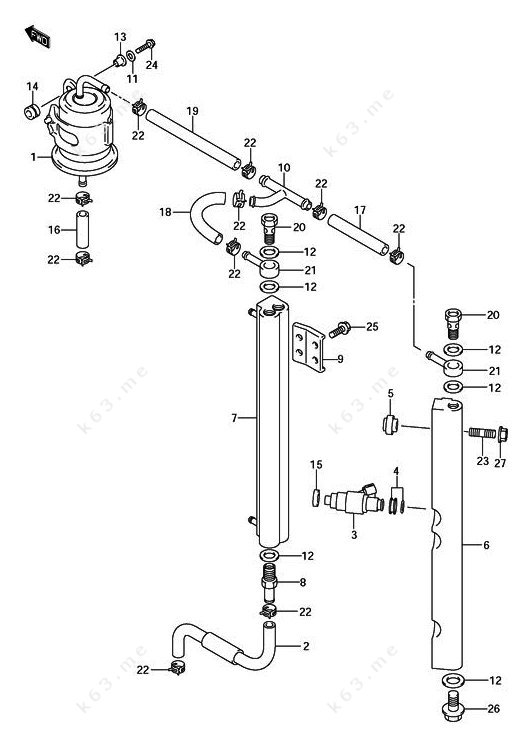 2002-2010 Suzuki DF 140, Fuel Injector - parts catalog