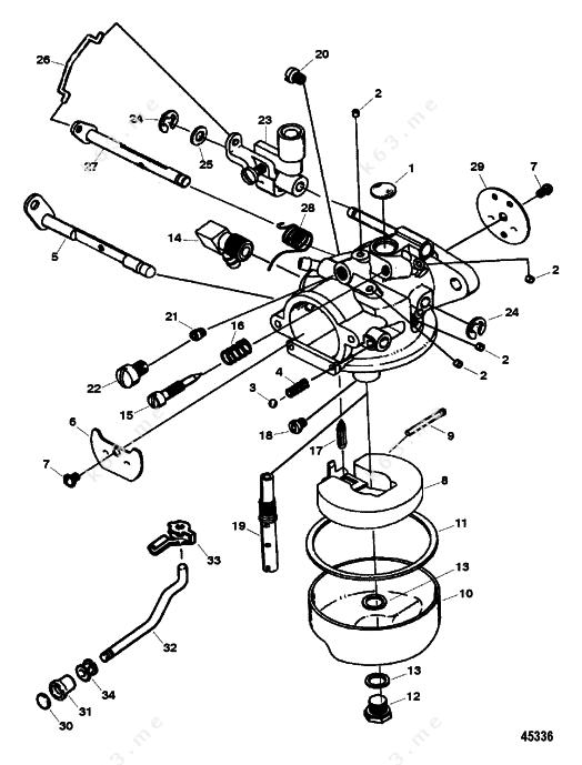 Mercury force 9 9 h p 1997 carburetor 15 hp model 1300 for Force outboard motor parts diagram