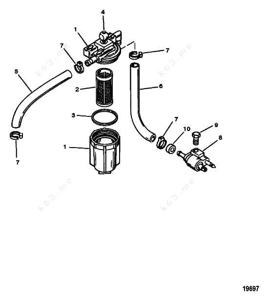 mercury  mariner 6  fuel filter assembly