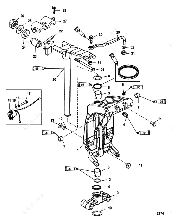 mercury  mariner 200 3 0l efi  swivel bracket and steering