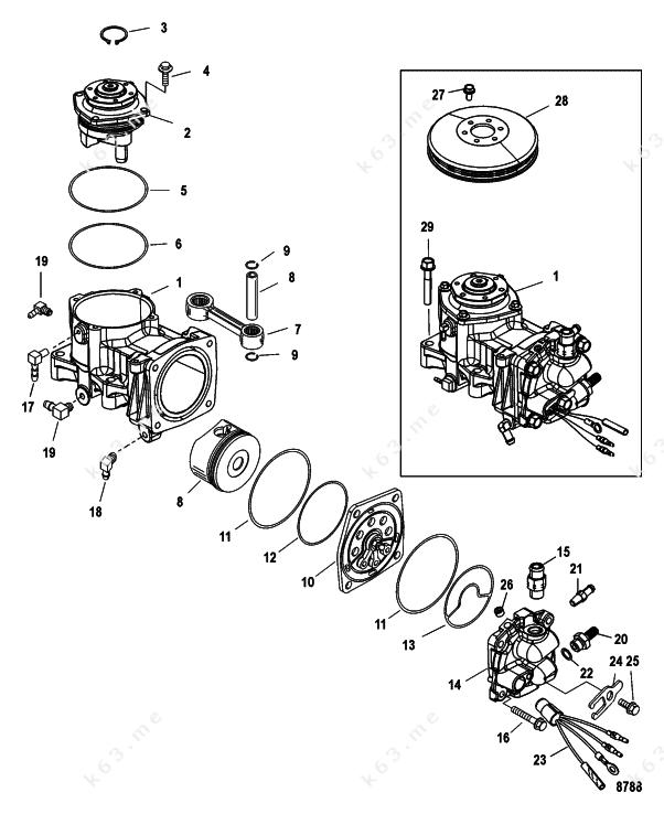 mercury  mariner 225 dfi 3 0l  air compressor components