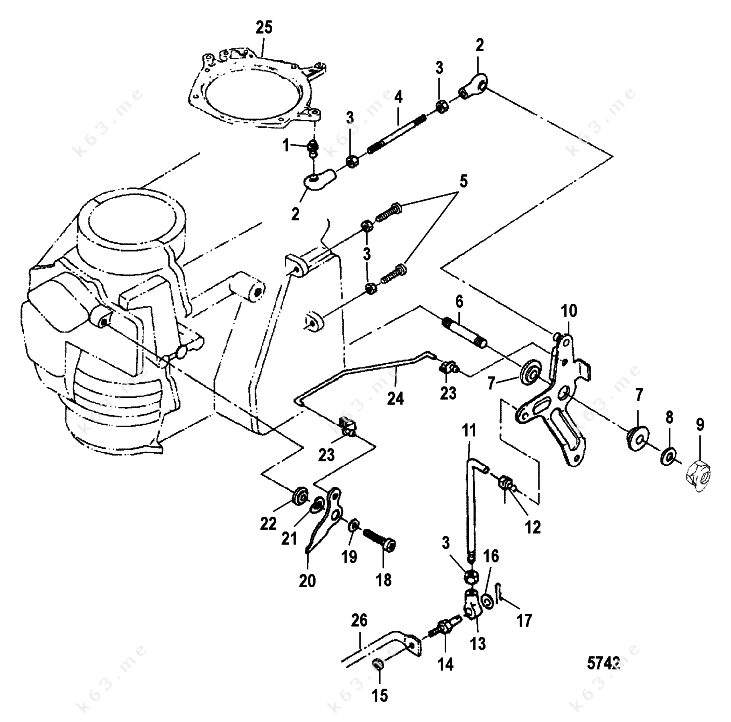 Mercury  Mariner 30 2 Cyl  International  Throttle Linkage