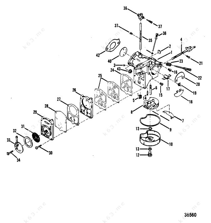 Mercury  Mariner 50 4 Cyl   Carburetor Assembly Tillotson