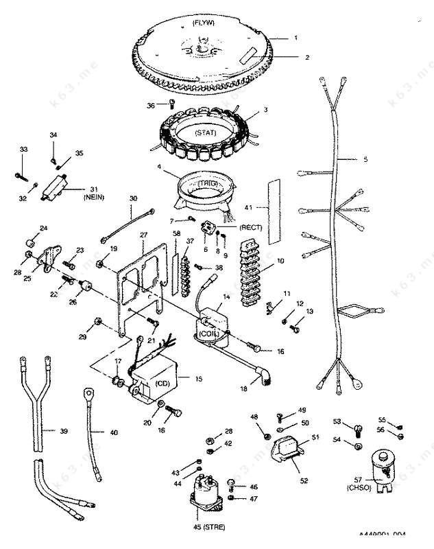 mercury  mariner 50 h p  1991  electrical components