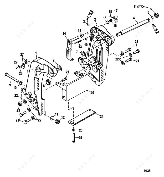 mercury  mariner 75 efi 4-stroke  transom bracket
