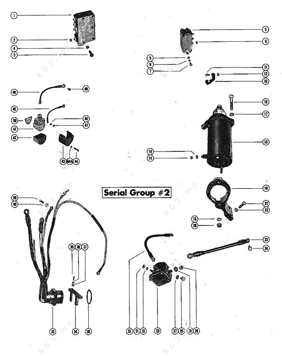 Mercury  Mariner 850 4 Cyl   Starter Motor And Wiring