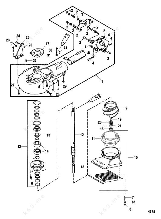 mercury  mariner 90 3 cyl   jet pump assembly