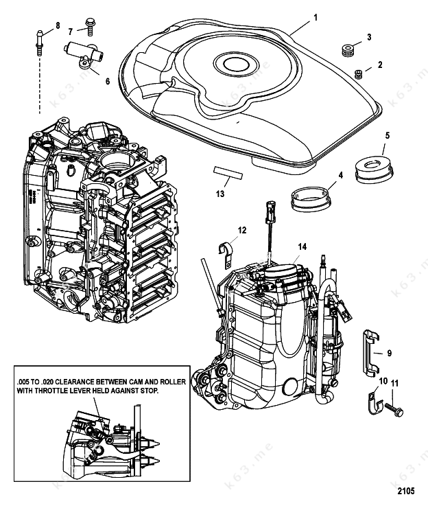 air handler parts diagram: mercury/mariner v-200 efi 2 5l, air