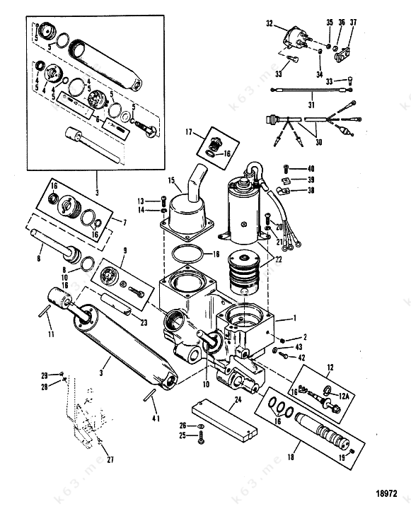mercury  mariner v-175  power trim components